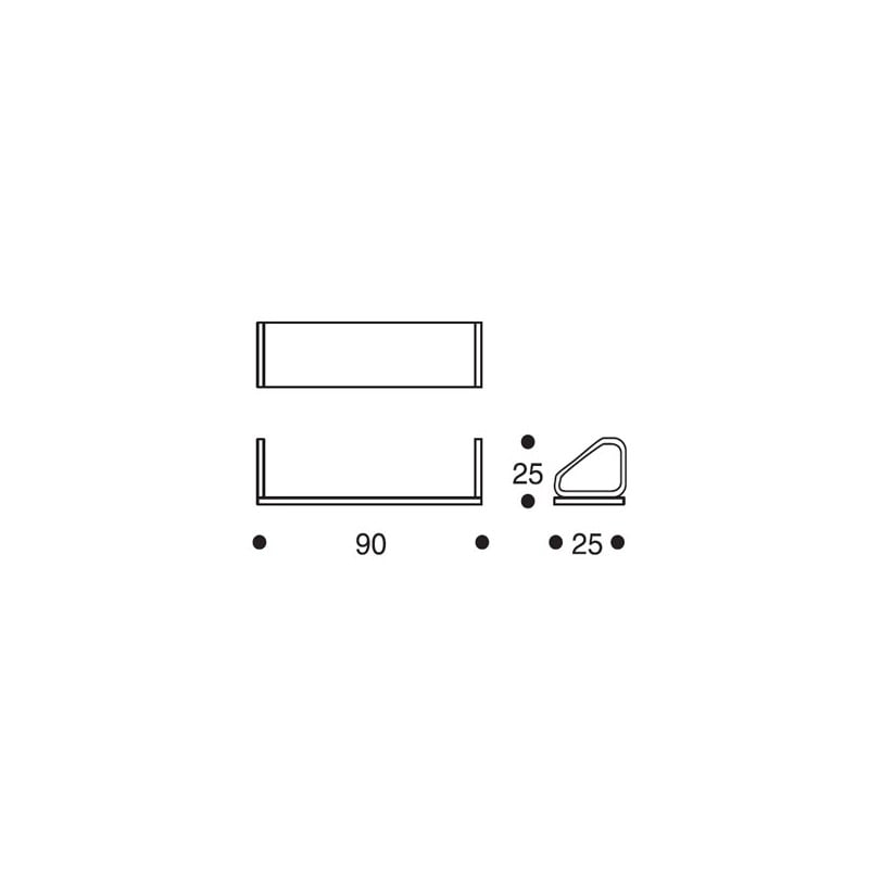 dimensions 112B Wall Shelf - artek - Alvar Aalto - Aalto korting 10% - Furniture by Designcollectors