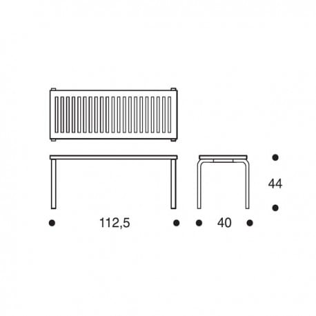 dimensions 153A Bench - artek - Alvar Aalto - Home - Furniture by Designcollectors