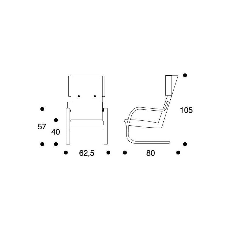 dimensions Armchair 401 by Hella Jongerius - artek -  -  - Furniture by Designcollectors