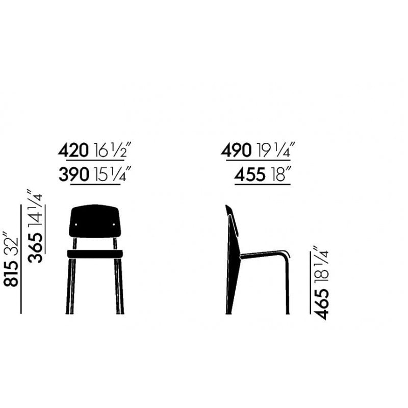 dimensions Standard Chair - vitra - Jean Prouvé - Home - Furniture by Designcollectors