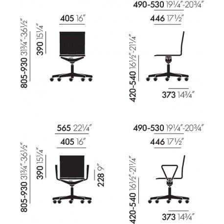 dimensions MVS .04 Chair - vitra - Maarten van Severen - Back to school - Furniture by Designcollectors