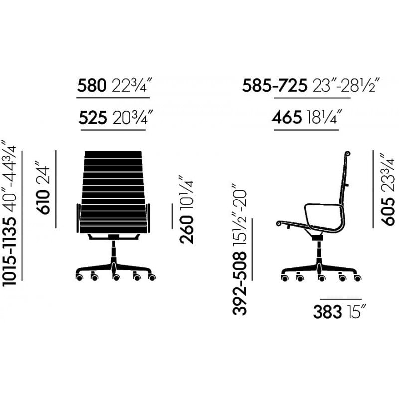 dimensions Alu Chairs EA 119 - vitra - Charles & Ray Eames - Korting 20% - Furniture by Designcollectors