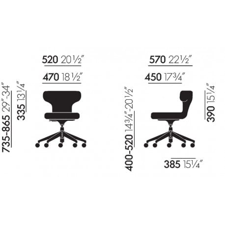 dimensions Pivot Stool - Vitra - Antonio Citterio - Office Chairs - Furniture by Designcollectors