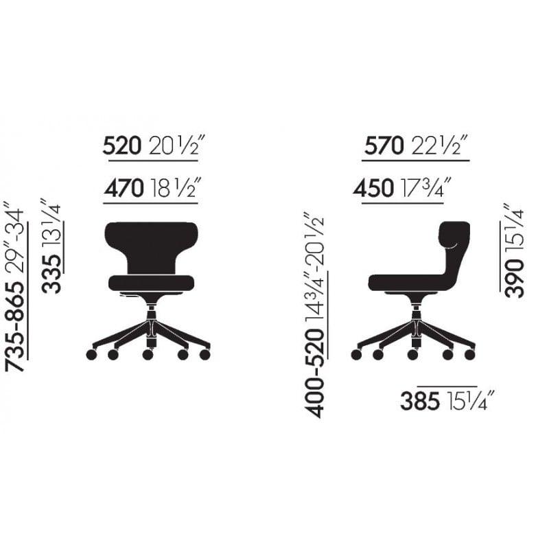 dimensions Pivot Stool Chaise de bureau - vitra - Antonio Citterio - Accueil - Furniture by Designcollectors