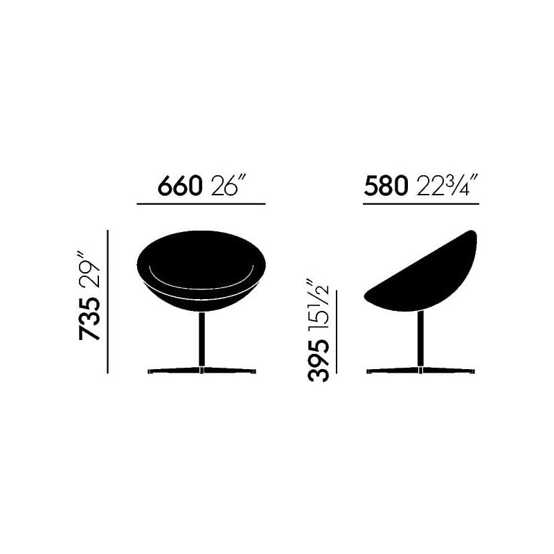 dimensions C1 Fauteuil - vitra - Verner Panton - Accueil - Furniture by Designcollectors