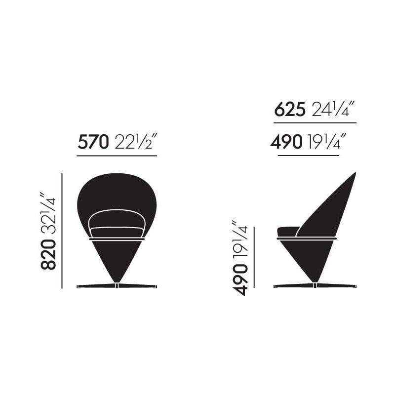 afmetingen Cone Chair - vitra - Verner Panton - Stoelen - Furniture by Designcollectors