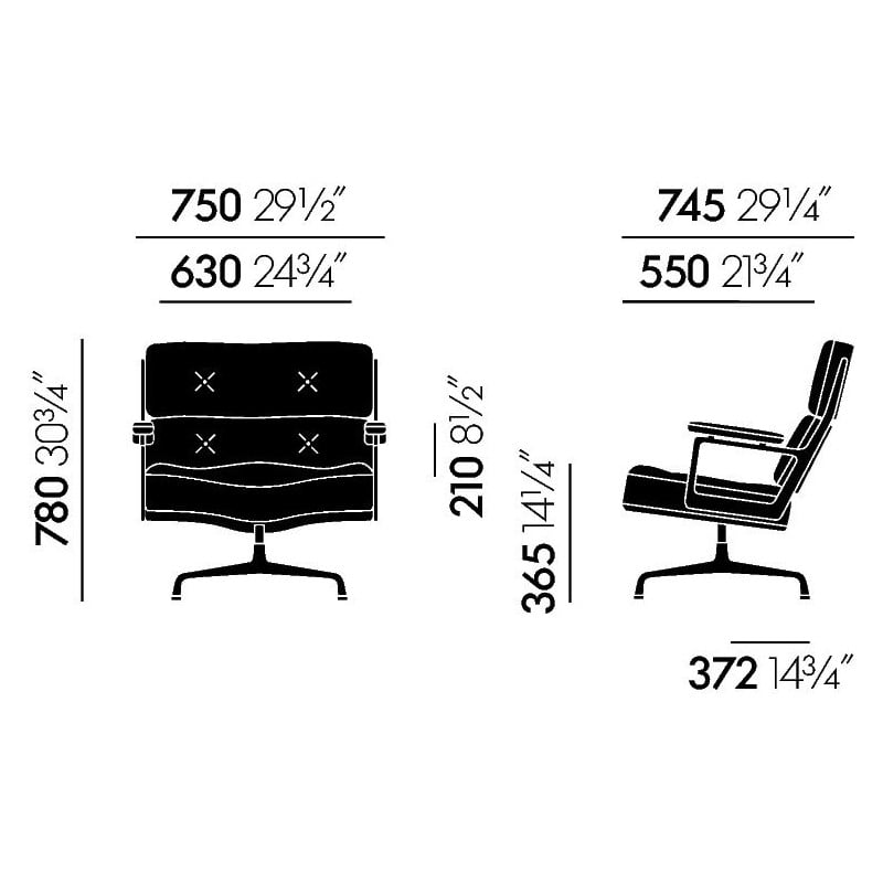 dimensions Lobby Chair ES 105 - vitra - Charles & Ray Eames - Home - Furniture by Designcollectors