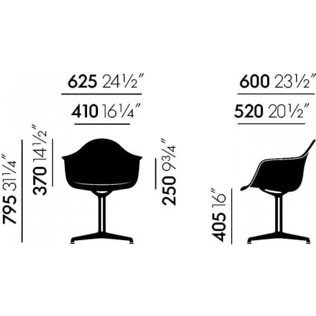 dimensions Eames Plastic Armchair DAL - Vitra - Charles & Ray Eames - Dining Chairs - Furniture by Designcollectors