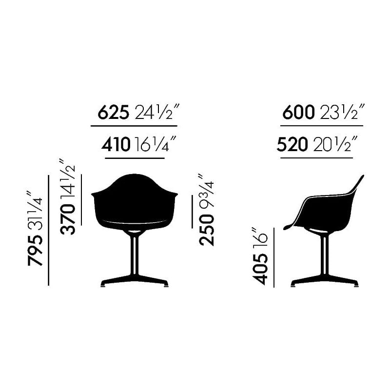dimensions Eames Plastic Armchair DAL - vitra - Charles & Ray Eames - Home - Furniture by Designcollectors