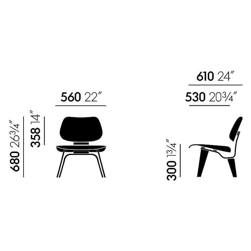 dimensions Plywood Group LCW Chair - vitra -  - Home - Furniture by Designcollectors