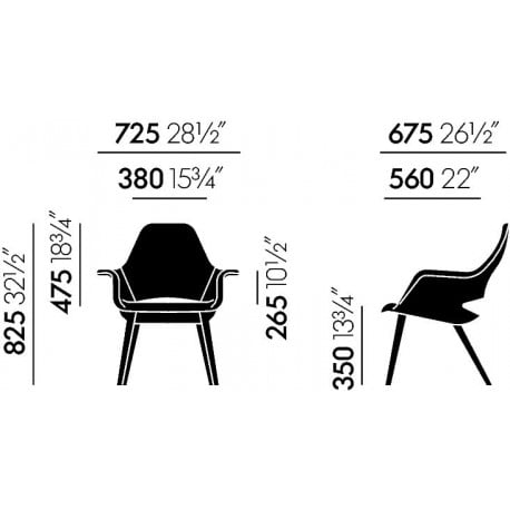 dimensions Organic Chair - vitra - Charles & Ray Eames - Arm & Lounge Chairs - Furniture by Designcollectors