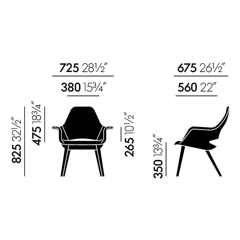 dimensions Organic Chair - vitra - Charles & Ray Eames - Home - Furniture by Designcollectors