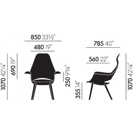 dimensions Organic Highback Chair - vitra - Charles & Ray Eames -  - Furniture by Designcollectors