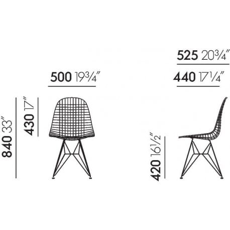 dimensions Wire Chair DKR-2 - vitra - Charles & Ray Eames - Home - Furniture by Designcollectors