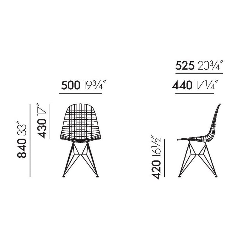 dimensions Wire Chair DKR-5 - vitra - Charles & Ray Eames - Home - Furniture by Designcollectors