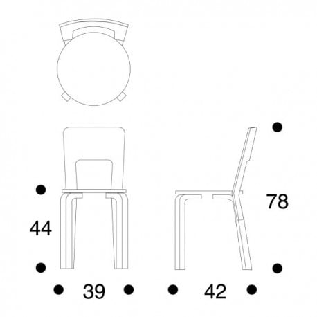 dimensions 66 Chair - artek - Alvar Aalto - Dining Chairs - Furniture by Designcollectors