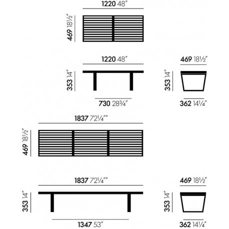 dimensions Nelson Bench - Vitra - George Nelson - Stools & Benches - Furniture by Designcollectors