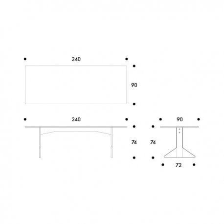 dimensions REB 002 Kaari large dining table - artek - Ronan and Erwan Bouroullec - Dining Tables - Furniture by Designcollectors