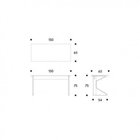 dimensions REB 005 Kaari desk - artek - Ronan and Erwan Bouroullec - Desks - Furniture by Designcollectors