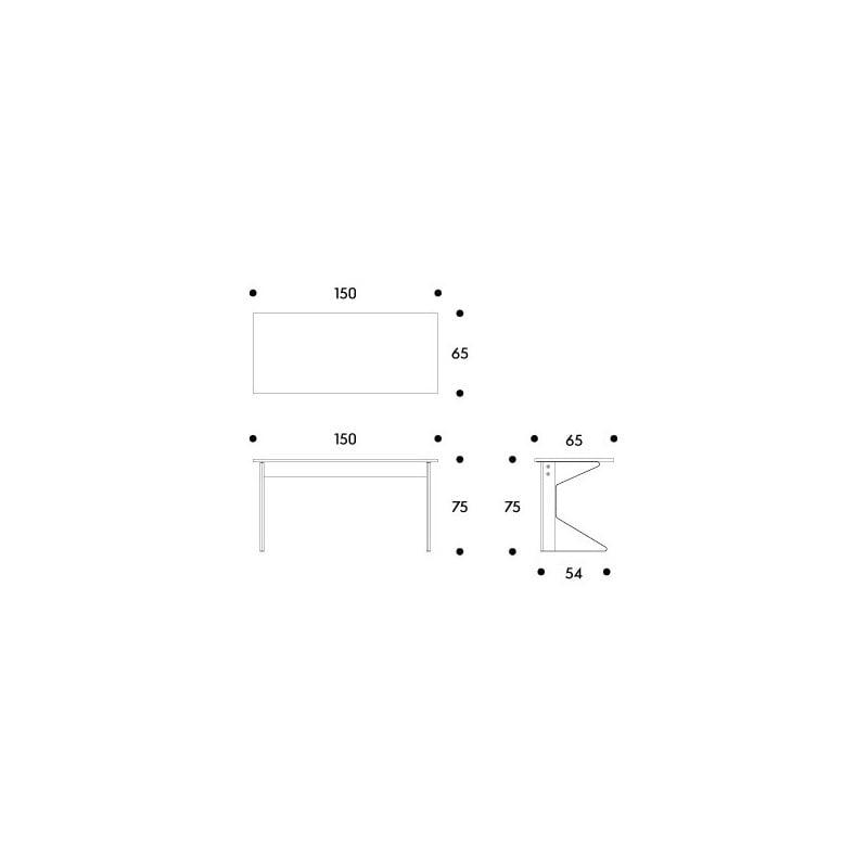dimensions REB 005 Kaari desk - artek - Ronan and Erwan Bouroullec - Home - Furniture by Designcollectors