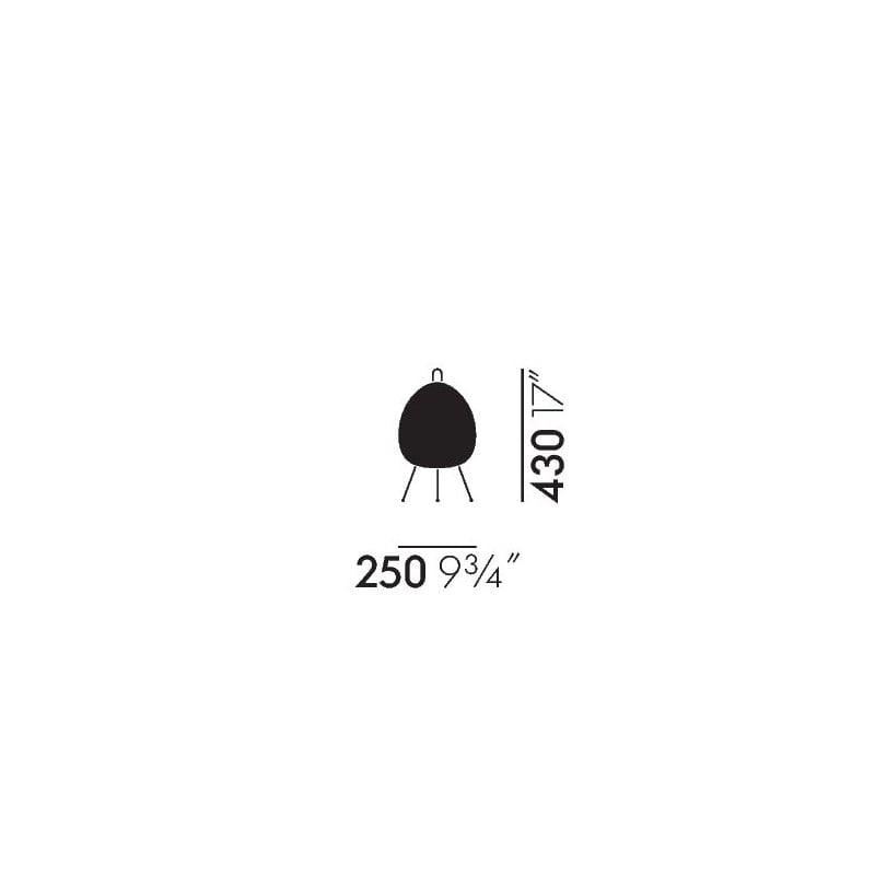 dimensions Akari 1A Table Lamp - vitra - Isamu Noguchi - Home - Furniture by Designcollectors