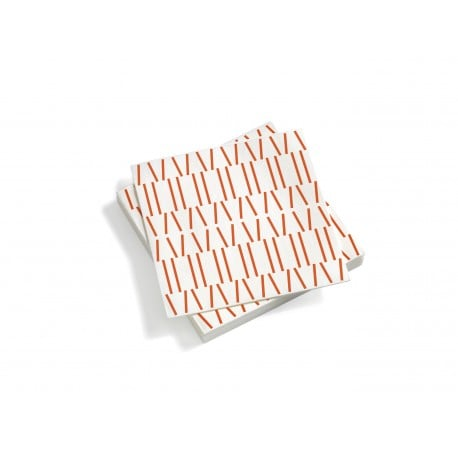 Paper Napkins, Large, Broken Lines, Red Orange - Furniture by Designcollectors