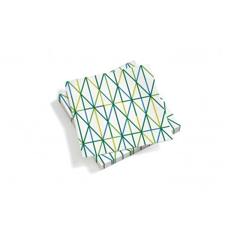 Paper Napkins, Large, Grid, Green - Furniture by Designcollectors