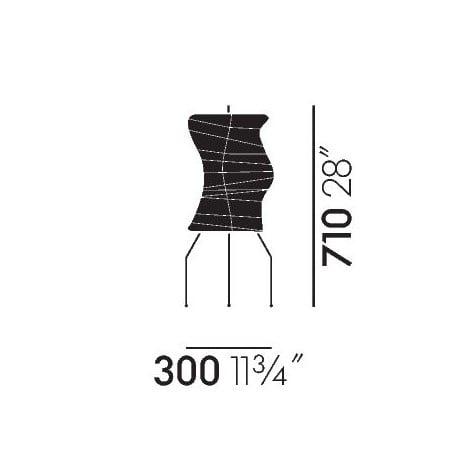 dimensions Akari UF2-33N - Vitra - Isamu Noguchi - Vitra Akari Light Sculptures - Furniture by Designcollectors