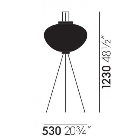 dimensions Akari 10A Floor Lamp - vitra - Isamu Noguchi - Vitra Akari Light Sculptures - Furniture by Designcollectors