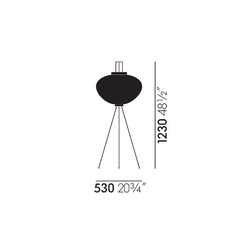dimensions Akari 10A Floor Lamp - vitra - Isamu Noguchi - Home - Furniture by Designcollectors