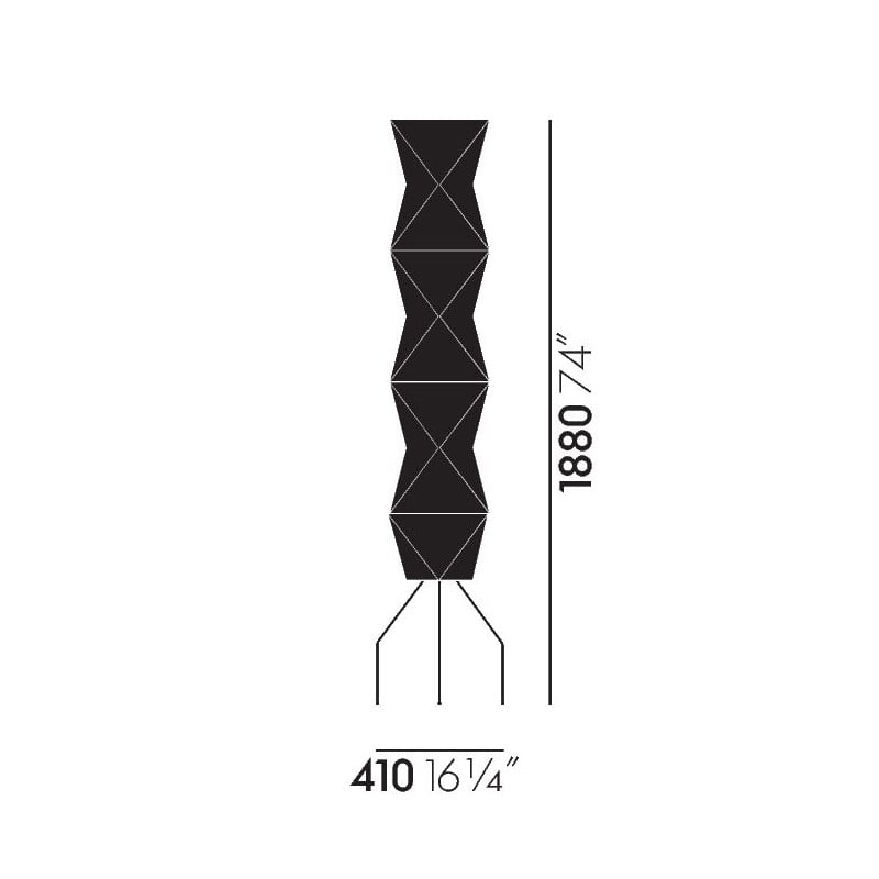 dimensions Akari UF4-L8 Floor Lamp - vitra - Isamu Noguchi - Home - Furniture by Designcollectors