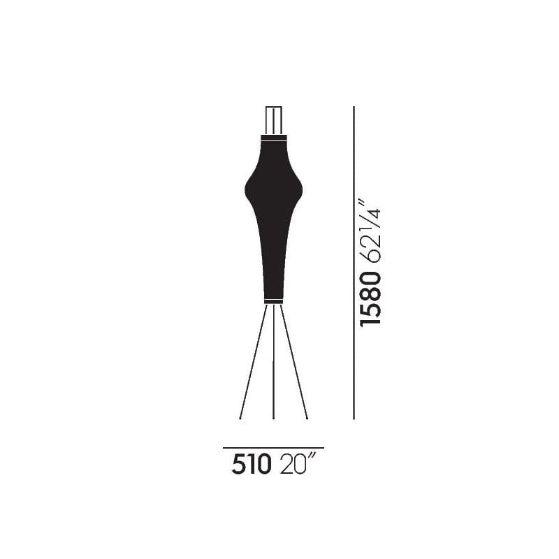 dimensions Akari 14A Floor Lamp - vitra - Isamu Noguchi - Home - Furniture by Designcollectors