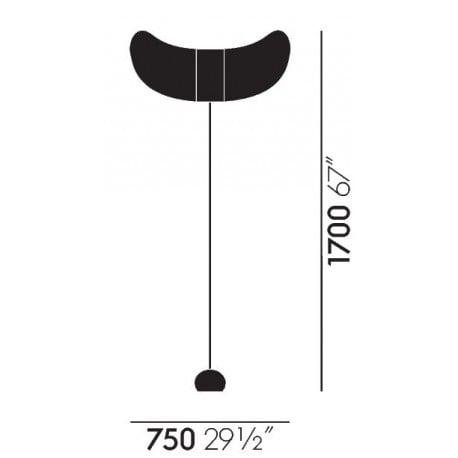 dimensions Akari BB3-33S Floor Lamp - vitra - Isamu Noguchi - Vitra Akari Light Sculptures - Furniture by Designcollectors