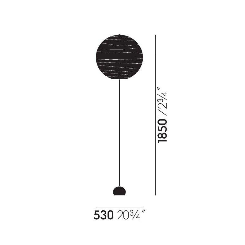 afmetingen Akari BB3-55DD Staande Lamp - vitra - Isamu Noguchi - Home - Furniture by Designcollectors