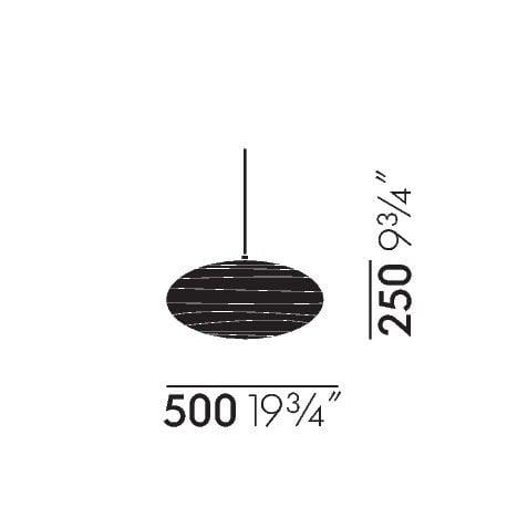 dimensions Akari 50EN Ceiling Lamp - vitra - Isamu Noguchi - Lighting - Furniture by Designcollectors