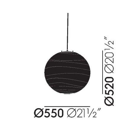 dimensions Akari 55D Ceiling Lamp - vitra - Isamu Noguchi -  - Furniture by Designcollectors