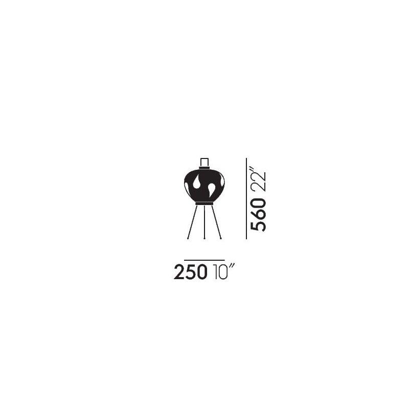 dimensions Akari 3AD Lampadaire - vitra - Isamu Noguchi - Accueil - Furniture by Designcollectors