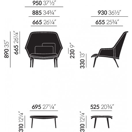dimensions Slow Chair Ottoman - Vitra - Ronan and Erwan Bouroullec - Arm & Lounge Chairs - Furniture by Designcollectors
