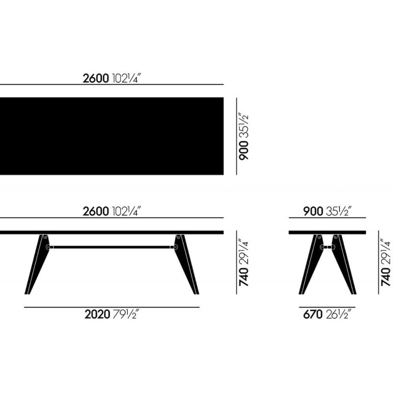 dimensions Table Solvay - vitra - Jean Prouvé - Tables - Furniture by Designcollectors