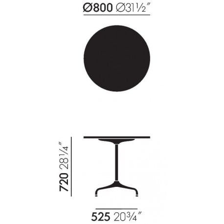 dimensions Contract Tables - Round - vitra - Charles & Ray Eames - Tables - Furniture by Designcollectors