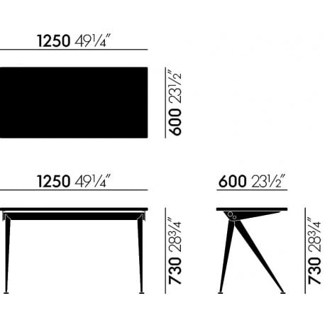 dimensions Compas Direction - vitra - Jean Prouvé - Back to school - Furniture by Designcollectors