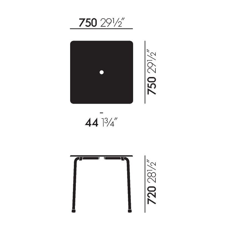 dimensions Davy Table - vitra - Michel Charlot - Home - Furniture by Designcollectors