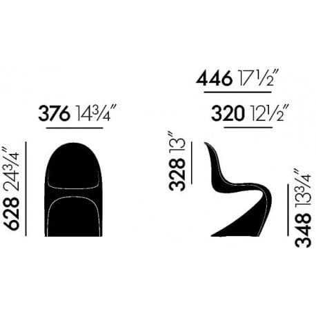 dimensions Vitra Panton Junior - vitra - Verner Panton - Gifts - Furniture by Designcollectors