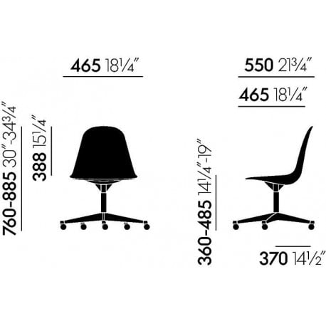 dimensions Eames Plastic Side Chair PSCC - vitra - Charles & Ray Eames -  - Furniture by Designcollectors