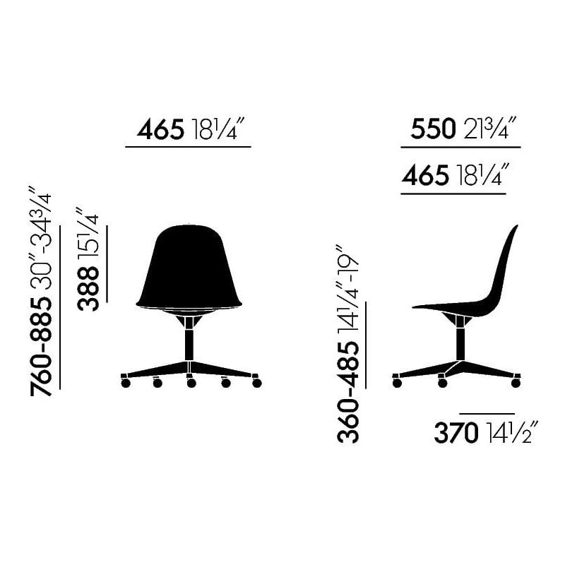 dimensions Eames Plastic Side Chair PSCC - vitra - Charles & Ray Eames - Home - Furniture by Designcollectors