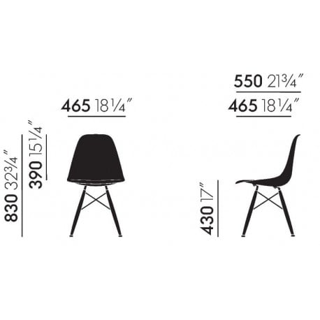 dimensions Eames Plastic Chair DSW without upholstery - vitra - Charles & Ray Eames - Home - Furniture by Designcollectors