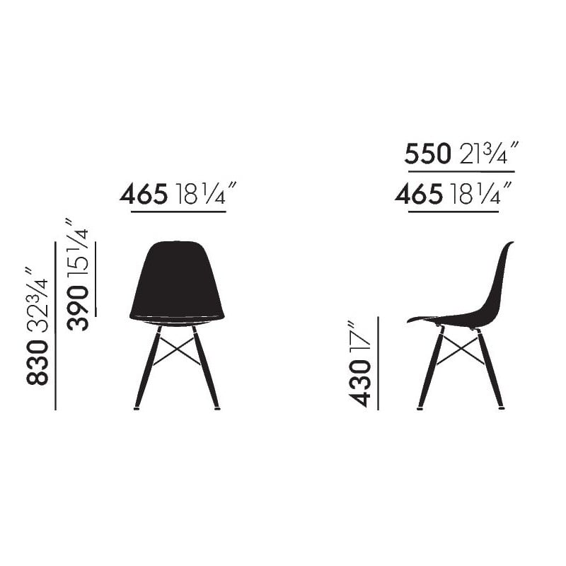 afmetingen Eames Plastic Chair DSW Stoel zonder bekleding - vitra - Charles & Ray Eames - Home - Furniture by Designcollectors