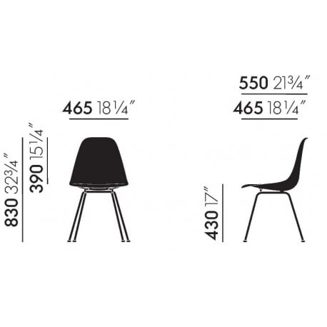 dimensions Eames Plastic Chair DSX without upholstery - vitra - Charles & Ray Eames - Dining Chairs - Furniture by Designcollectors