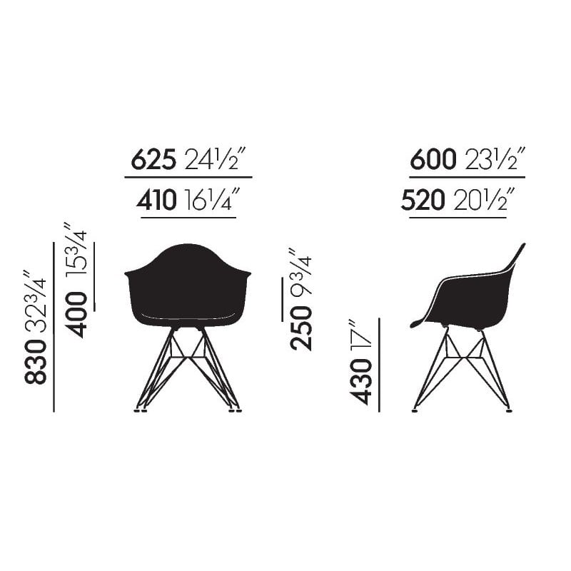 dimensions Eames Plastic Armchair DAR without upholstery - vitra - Charles & Ray Eames - Home - Furniture by Designcollectors
