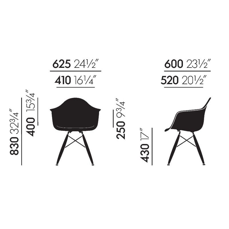 dimensions Eames Plastic Armchair DAW without upholstery - vitra - Charles & Ray Eames - Home - Furniture by Designcollectors